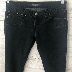 Rock & Republic Black Skull Studded Skinny Jeans